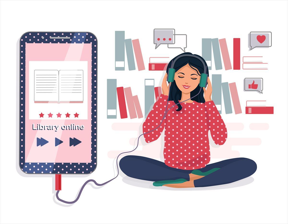電子書籍を聴く女性